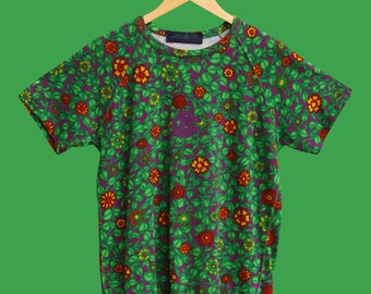 BEST COMPANY Vintage T-shirt, green and purple floral pattern 80s 90s M