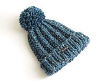 Womens Petrol Blue Tweed Bobble Hat. Thick chunky hand knitted beanie Large removable pom pom. HoBo Handmade Lofty Wool Blend. M or L Ladies