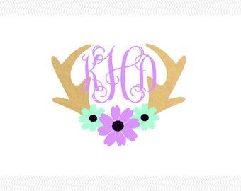 Antlers Monogram Vinyl Decal | Deer Antlers Decal | Monogram Decal | Yeti Decal | Antlers Decal |