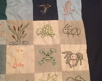 Hand Embroidered Baby Blanket