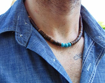 Mens Beaded necklace, Men's surfer necklace, Surfer necklace, Mens coco shell necklace, Mens wood bead necklace, Bohemian men's necklace