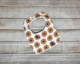 Baby Bib, Drool Bib, Toddler Bib, Black Eyed Susans, Maryland Flag