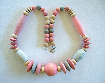 Beautiful Spring Necklace Pretty Pastel Color Chunky Necklace Pink Necklace Blue Necklace Unique Necklace Cool Handmade Jewelry Gift for Her