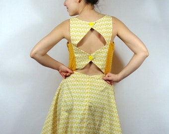Vintage woman yellow dress with halter