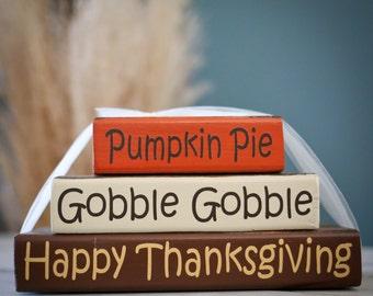 Home Decor Wood Block Stacks/Stacker - Pumpkin Pie, Gobble Gobble, Happy Thanksgiving