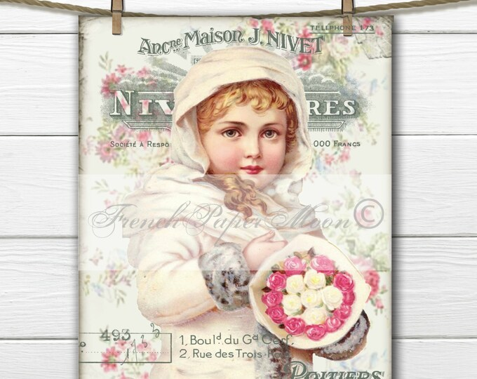 Shabby Chic Victorian Snow Girl Digital, Vintage Girl, Roses, Collage, French Pillow Image, Instant Download Fabric Transfer