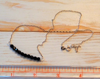 Delicate Onyx and Sterling Silver Layered or Alone Necklace