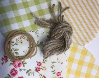 Jam Covers, Fabric Jar covers, Mini Jam jar covers, Fabric jar covers, Jam pot covers, Glass Jar covers, Wedding Favor kit