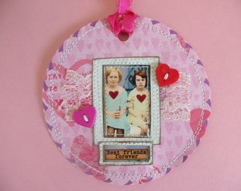 "She ""Best Friends Forever"" mixed media Tag/Gift Tag/Scrapbook/Card"
