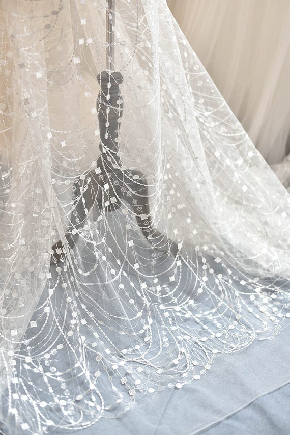 Ivory Sequined Bridal Lace Fabric by Yard for Wedding Gown