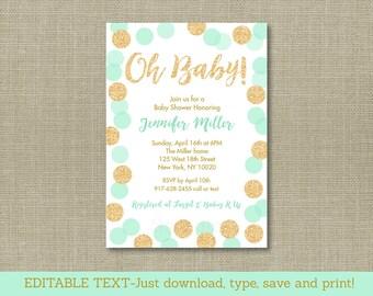 Glitter Baby Shower Invitation / Glitter Dots / Confetti Dots / Mint & Gold / Gender Neutral / INSTANT DOWNLOAD Editable PDF A148