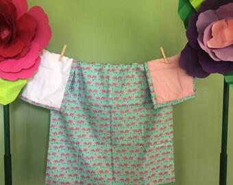 Baby Receiving Blanket/ Burp Cloths Bundle Flamingo