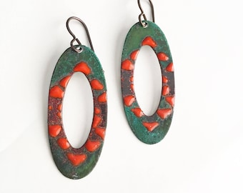 Patina and Red Enamel Earrings