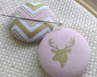 Needle Minder, Deer, Stag, Chevron, 2 Piece Reversible Scout and Remy, Personalized, Initial, For Cross Stitch, Sewing, Embroidery