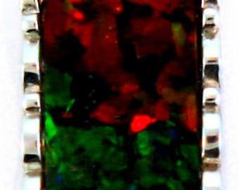 Giant Bar Shape Ammolite Pendant set in Sterling Silver