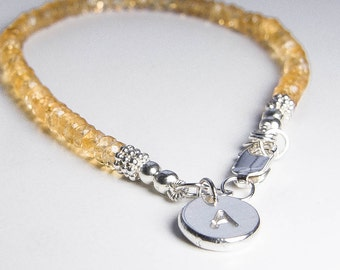 Citrine Bracelet. Personalized Jewelry. November Birthstone. Petite Initial Bracelet. Gemstone Jewelry. Recycled Silver Charm. Custom