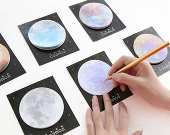 Planets // Sticky Notes Memo Pad // Planner Sticky Notes Moon Stationery