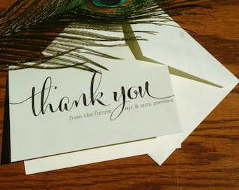 Thank You from the Future Mr. and Mrs. - Couples Shower Thank You Cards, Wedding Thank You Notes, handmade wedding stationery