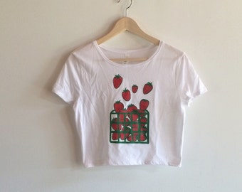 Strawberry Crop Top, Strawberry Shirt, Food Shirt, Gardening Gift, Foodie Gift