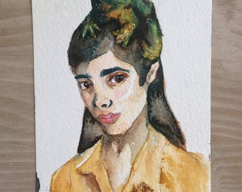 Gift ideas for her: Original watercolor art- Handmade portrait with frog on postcard- postcard illustration
