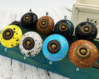 Water colour Spotted Cabinet Knobs and Pulls/Dresser Ceramic Knobs/Chest of Drawers Knobs C047