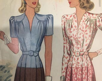 Vintage 1940s McCall Day Dress Printed Pattern -Size 14 Small