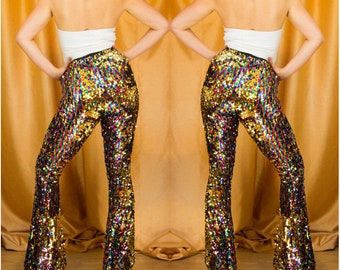 Burning Man Sequin Flares, Rainbow Gold Sequin Bell Bottoms, Festival Costume, Disco Flares | Sparklebutt