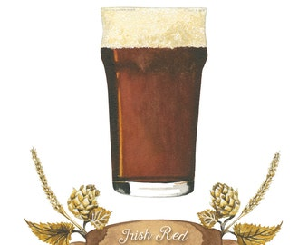 Irische Rote Craft Beer Aquarell Illustration