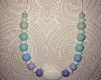 Blue Ombre Silicone Nursing Necklace