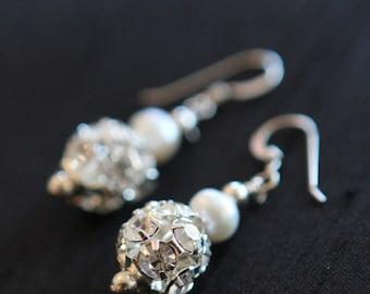 Genuine Pearl and Rhinestone Earrings