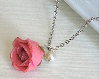 Real Rosebud Necklace - Pink , Natural Preserved,  Pearl, Sterling Silver
