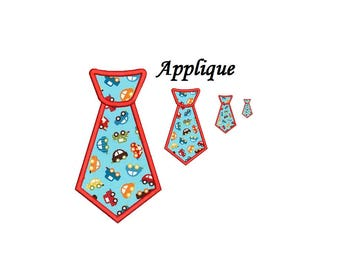 Tie applique embroidery design - 4 sizes machine embroidery INSTANT DOWNLOAD