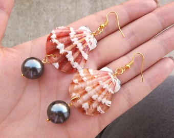 Real Natural Orange Scallop Shell Seashell Charcoal Metallic Black Glass Pearl Beaded Drop Ball Ocean Beach Mermaid Gold Dangle Earrings 3""