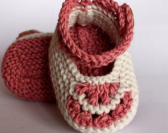 Knitting Pattern (PDFfile) Vintage Baby Shoes (0-6/6-12 months)