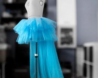 Blue tutu train Layered tulle skirt Bridal train Ball skirt Wedding skirt Bridesmaid's skirt Flowing skirt Maxi skirt Ruffle skirt Custom