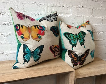 Vibrant Butterfly and Velvet Cushions - Set of Two