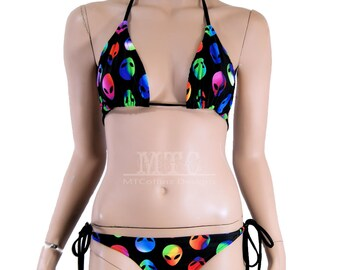 Neon Rainbow Alien Head Bikini Bra Top Bottom Tie Waisted Rave Set MTCoffinz - Choose Size (Separates available)