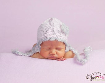Baby girl hat earflap light pastel powder pink silver grey textured ties flower beanie newborn photography photo prop hand knit