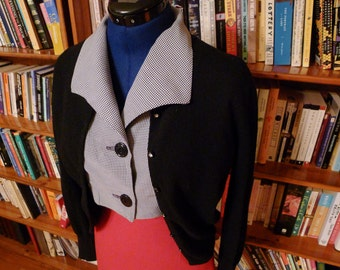 FOREVER YOUNG--Adorable 1940s Rayon Gingham Midriff Baring Cropped Blouse by 'Forever Young'-S,M