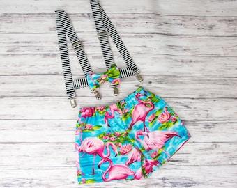 Boy's Flamingo Shorts, flamingo Bow Tie-, striped suspenders, boys flamingo outfit, flamingo shorts, boy's flamingo party, flamingo birthday