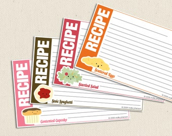 Food Friends - 3x5-inch Printable Recipe Cards