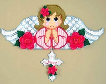 Creative Art on Plastic Canvas - GUARDIAN ANGEL - GIRL - Wall Hanging - Needlepoint on Plastic Canvas - Handmade - Hand Stitched