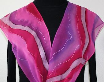 Silk Scarf Hand Painted, Pink Purple Chiffon Silk Shawl COLORADO DAWN, in 2 SIZES. Holidays Gift, Bridesmaid Gift