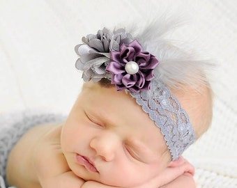 grey Feather Headband, eggplant headband, girl elastic headband, plum wedding flower girl, grey headband, baby headband, girl birthday gift