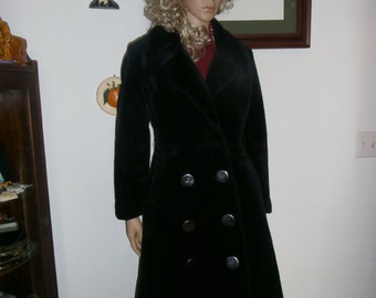 Womens Winter  Coat~  Black Faux Fur ~ Coat Double Breasted ~ Large Button's Womens Jacket 70's BORGANA