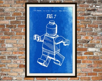 Lego Patent - Blueprint Art of a Lego Figurine Man Person No.8 Technical Drawings Engineering Drawings Patent Blue Print Art Item 0081