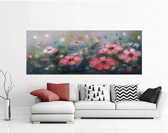 "extra long horizontal floral abstract painting 56""x24"", Art prints canvas giclee, Modern posters on Fine art print paper,Huge sizes wall art"
