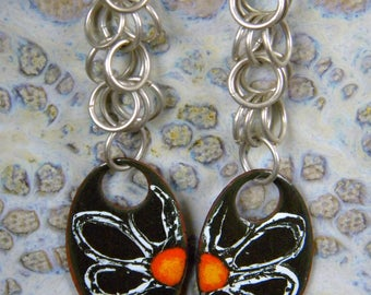 Daisy Enamel Enameled on Copper Oval Daisy Flower and Sterling Silver Jump Rings Hook Earrings Black White Orange