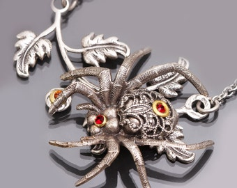 Silver Spider Necklace Spider Necklace Spider Pendant Spider Jewelry