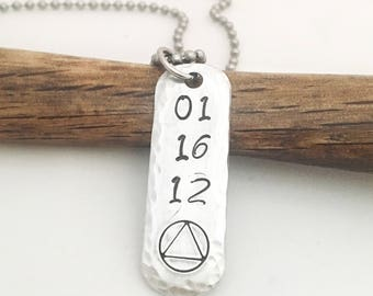 Sobriety Necklace, AA Symbol Pendant, Recovery Jewelry, Sobriety Anniversary Date, Sobriety Gift, Recovery Gifts, Sober Gift, Addiction Gift